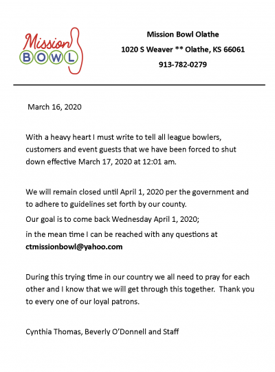 Letter explaining that Mission Bowl will be closed March 17 to April 1 2020 due to coronavirus, per government guidelines